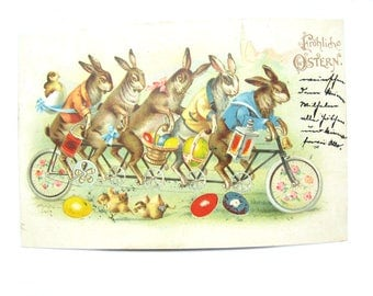 Antique Easter Postcard. Hold To Light. Bunnies Riding a Tandem Bicycle. Illuminated Easter Eggs. Spring Chicks. 1900s Paper Collectible HTL