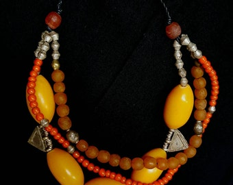 KASBAH Design, with antique african beads, Ethiopian silver-metal beads, resin beads, Telsum beads