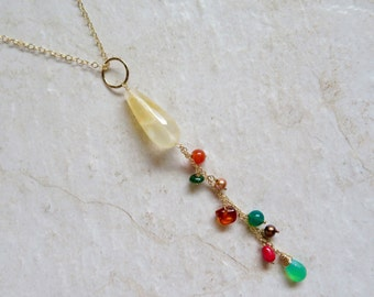 Long Gemstone Necklace, Gold Chain Dangle, Citrine, Amber, Coral, Gemstones, Pearls, Autumn Colors, Fall Fashion,  Gift Idea