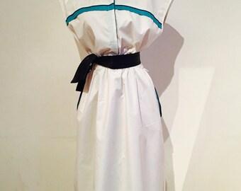 1980s White Shirt Dress