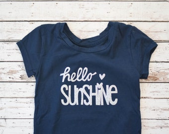 Girls' Hello Sunshine Silver Glitter Short Sleeved Tee