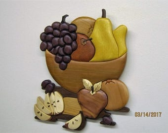 FRUIT Still Life, intarsia wood carved  wall decor  Rakowoods, kitchen  dining room decor, birthdays, house warming, anniversary,Christmas.