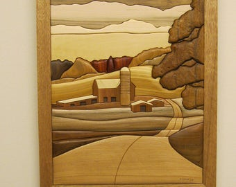 Country Scene, Intarsia hand carved wood art by Rakowoods,  rural scenery for a farm home, family, birthdays, Christmas, home wall decor