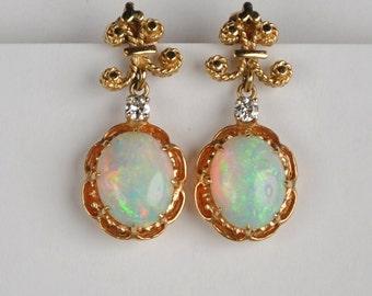 14kt Opal and Diamond Earrings