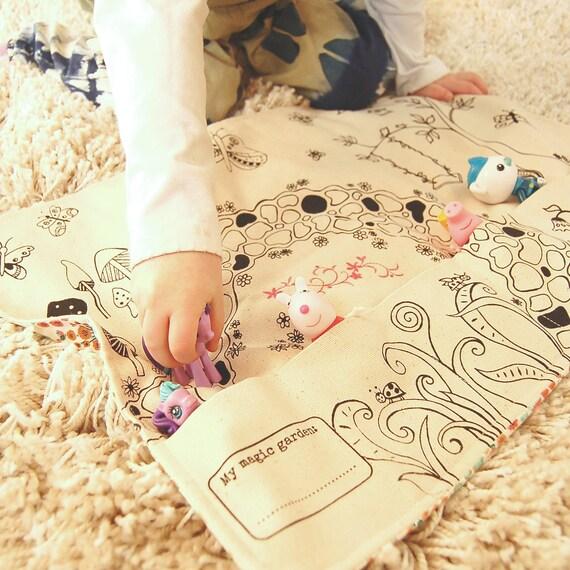 Girls Travel Toys, Organic Playmat, Montessori Play, Girls Play Mat, Girls Quiet Toys, Waldorf Playmat, Eco-Friendly Playmat, Quiet Play