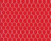 Farm Fun Chicken Wire in Tractor Red, Stacy Iest Hsu, 100% Cotton Fabric, Moda Fabrics, 20536 12