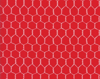 Farm Fun Chicken Wire in Tractor Red, Stacy Iest Hsu, 100% Cotton Fabric, Moda Fabrics, 20536 12