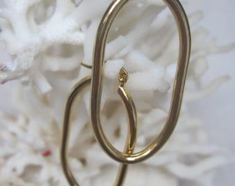 High Polish Yellow Gold Elongated Classic Oval Hoop Earrings