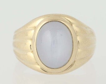 Vintage Star Sapphire Ring - 14k Yellow Gold Circa 1940 Solitaire 8.00ct N4356
