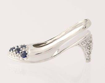 Sapphire & Diamond High Heel Shoe Pendant - 10k White Gold Sandal Charm .35ctw N8380