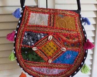 Banjara Bucket Bag Purse Handmade OOAK Boho Hippie Gypsy India Club Kid Grunge Cross Body Messenger Tote Bohemian Hipster Festival Black Mod