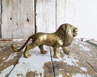 Vintage Brass Lion // Solid Brass Paperweight
