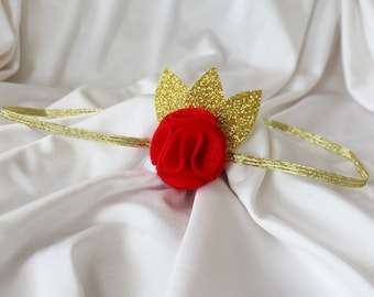 Red and Gold Headband - Red Headband - Red Flower Headband - 4-6 yrs  - Ready to ship