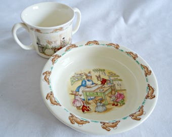 2 Piece Bunnykins Royal Doulton Mug Bowl Children's Dishes Vintage
