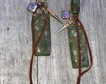 Vintage  Large rectangular Ocean Jasper DANGLES w/leather .Rare barreled Turquoise ,metallic lavender pearl squares & Metal Spikes .14k gf