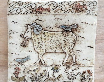 Handmade porcelain tile of a sheep with birds on a walk in the park 6x6 inch for installation or wall hanging