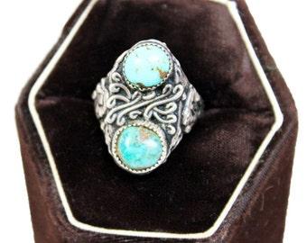 Vtg. Turquoise Buffalo Ring