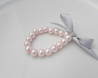 Pearl Bracelet, Bridesmaid Gift, British Seller UK, Flower Girl Bracelet, Ribbon Pearl Bracelet, Pink Pearl Bracelet, Pink and Grey Jewelry