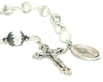 Holy Sacrament Chaplet, Decima Rosary, White Howlite Beads
