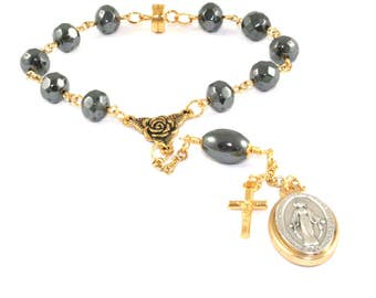 Car Rosary, Miraculous Medal Auto Rosary, Hematite & Gold Travel Prayer Beads