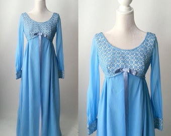 Vintage Dress, Blue Vintage Dress, 1960s Dress, Blue Chiffon Dress, 60s Blue Gown, Vintage Gown, Boho Blue Dress, Blue Boho Gown, 60s Gown