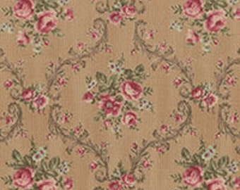 Antique Rose 31299-10s tan scroll floral...Lecien