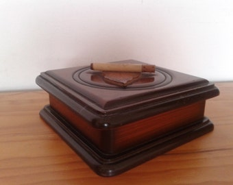 Vintage cigarette box,wooden box,tobacco box,  storage box, Rustic deco,desk box, cigarette dispenser