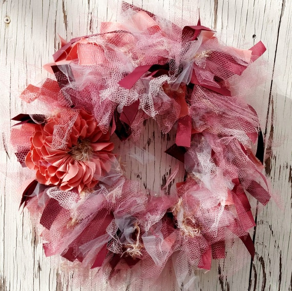 Recycled Vintage Fabric and Ribbon Wreath - 20 inch - mauve, salmon, pink