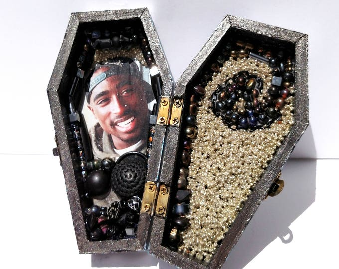 Tupac Coffin Shrine Altar Box in Silver and Hematite - One of a Kind Mixed Media Art