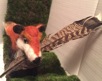 Needlefelted Fox with Turkey Feather