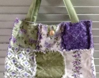 """Handmade Rag Quilted Tote Bag shabby chic LILACS with 8"""" Handle drop and wood Button Closure"""