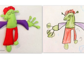 Custom Monster From Kids Drawing, Children Drawings Into Real Plush Toy, Personalized Gift for Boys, Monster Birthday Gift, Present for Dads