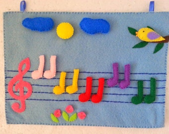 Music Felt Board, Music Notes, Music Quiet Book, Treble Clef, Felt Board Story, Music Art Gift for Kids, Learning Toys, Educational Games