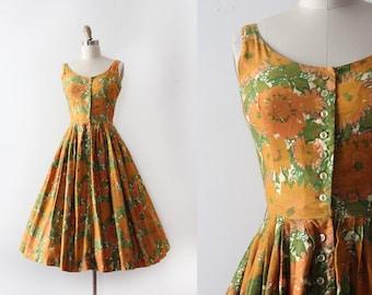 vintage 1950s Jonathan Logan dress // 50s floral cotton day dress
