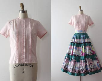 vintage 1950s blouse // 50s classic pink top