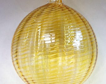 Glass Ball Gold Ornament Suncatcher, Holiday Decor, Tree Decorations, Amber