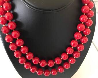 Long Vintage Red and Gold Bead Necklace