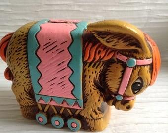 70's Vintage Donkey BANK.  Pottery.  Kitsch, Mod, pop, Mid century, Eames Panton era.