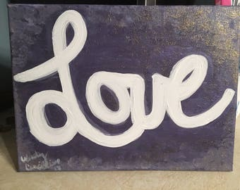 Love w/ Purple and Glitter Background-Infused w/ Lavender Essential Oil -9x12 Canvas