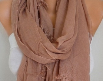 ON SALE --- Milky Brown Cotton Scarf,Wedding Shawl,Fall Scarf,Cowl,Bridesmaid Gift,Gift Ideas For Her Women Fashion Accessories,Bridal Scarf