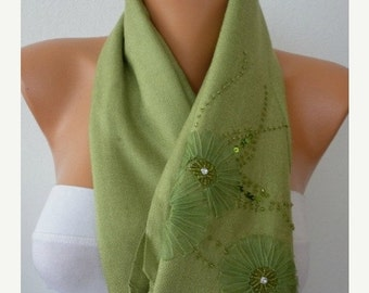 ON SALE --- Grass Green Embroidered Scarf,Fall Shawl,Oversize,Evening Wrap,Bridesmaid,Bridal Accessories, Gift Ideas For Her, Women Fashion