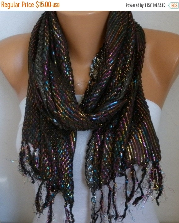 ON SALE --- Brown & rainbow glitter coton plait Scarf,fall Scarf,Cowl,Bridal Scarf, Bridesmaid Gift Gift ideas For Her Women Fashion Accesso