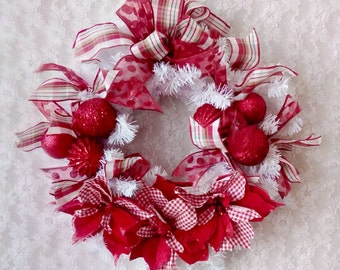 Christmas Wreath, Whimsical Holiday Wreath, Door decor, Wall decor, Red and White, Cottage decor