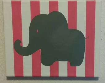 Elephant sign, girl, baby, sign, canvas, mom, love, adults, vinyl, painted, silhouette, family, baby shower, toddler, kid