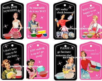 RETRO attitude and sass- ladies 1950 PINK and black pyrex apron hang tags-journals-albums- digital delivery