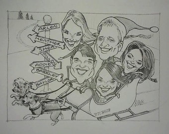 Custom Caricature Christmas/holiday Card image