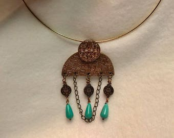 Handcrafted Rose Bronze Pendant with Natural  Howolite stones