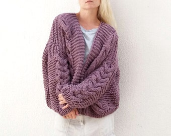 Braids and Cables Cardi. Choose Your Color.