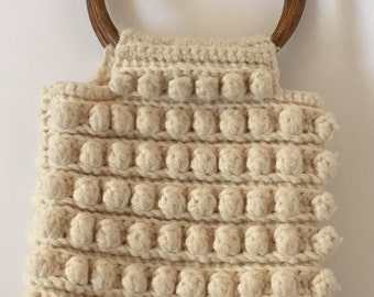 Vintage Knit Purse with Wooden Handle