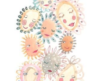Happy flowers nursery art, art, art prints